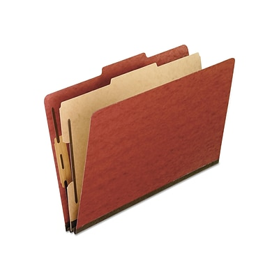 Pendaflex Pressboard Classification Folders, Legal, Four-Section, Red, 10/Box