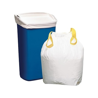 Staples Drawstring 13 gal. Tall Kitchen Trash Bags, .9 Mil, White, 50/Box (54000)(51242-CC/18931