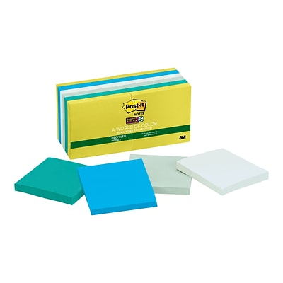 Post-it Super Sticky Notes, 3 x 3 Bora Bora, 90 Sheets/Pad, 12 Pads/Pack (654-12SST)
