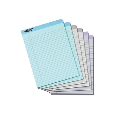 TOPS Prism Notepad, 8.5 x 11.75, Wide Ruled, Assorted, 50 Sheets/Pad, 6 Pads/Pack (TOP63116)