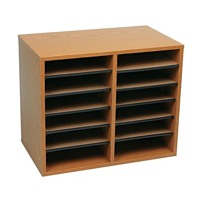 Safco 12 Compartment Literature Organizer, Medium Oak (9420MO)