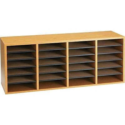 Safco 24 Compartment Literature Organizer, Medium Oak (9423MO)