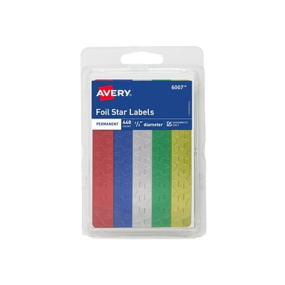 Avery Hand Written Identification & Color Coding Labels, 0.5Dia., Blue/Gold/Green/Red/Silver, 440/Pack (6007)