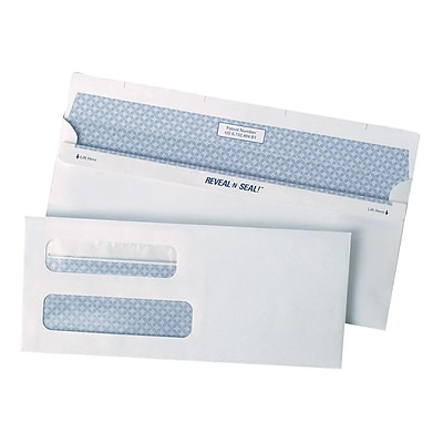 Staples Reveal-N-Seal Security Tinted #8 Business Envelopes, 3 5/8 x 8 5/8, White, 500/Box (SPL1775860)