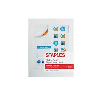 staples laser inkjet multipurpose labels 8 5 w x 11 h white 30