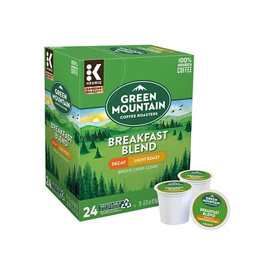 Green Mountain Breakfast Blend Coffee, Keurig® K-Cup® Pods, Light Roast, Decaf, 24/Box (5000082433/7522)