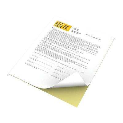 Xerox Revolution 8.5W x 11H Carbonless Paper, White/Canary, 2500/Carton (3R12420)