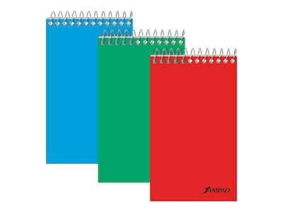 """Image of Ampad Memo Pads, 3"""" x 5"""", Narrow Ruled, Assorted, 60 Sheets/Pad, 12 Pads/Pack (TOP 25-087)"""
