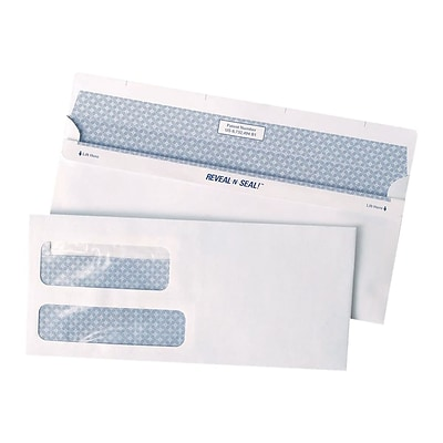 Staples Reveal-N-Seal Security Tinted #9 Business Envelopes, 3 7/8 x 8 7/8, White, 500/Box (SPL1775861)