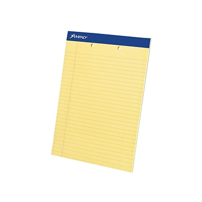 Ampad Notepads, 8.5 x 11.75, Wide Ruled, Canary, 50 Sheets/Pad, 12 Pads/Pack (TOP 20-224)