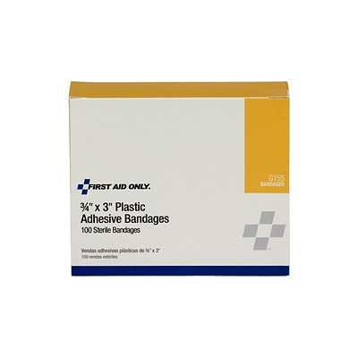 First Aid Only 0.75W x 3L Adhesive Bandages, 100/Box (G155)