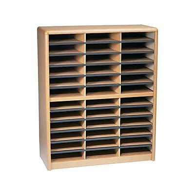 Safco Medium Oak Wood//Corrugated 36 Compartment Literature Organizer