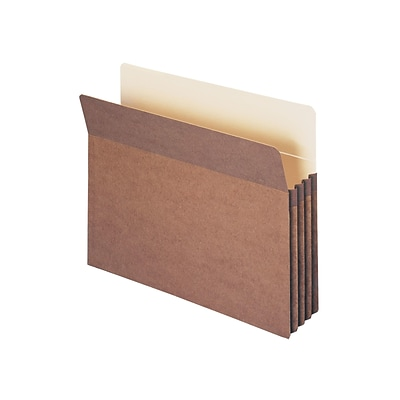 Smead 100% Recycled File Pockets, 3.5 Expansion, Letter Size, Brown, 25/Box (73205)