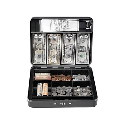 MMF Industries STEELMASTER Cash Box, 11 Compartments, Gray (2216190G2)