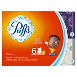 Puffs Basic Family Pack 2-Ply Facial Tissues, Unscented, 6 x 180 Count (84327)