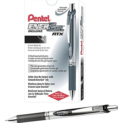 Pentel EnerGel Deluxe RTX Retractable Gel Pens, Medium Point, Black Ink, Dozen (BL77-A)