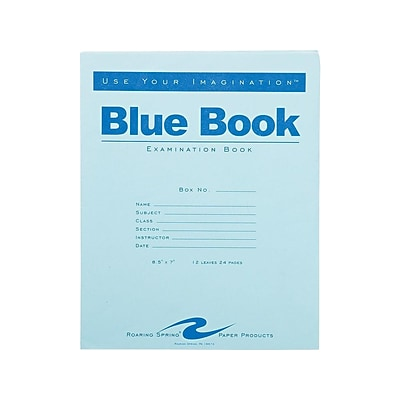 Roaring Spring Blue Exam Book, 7 x 8.5, Wide Rule, 12 Sheets, Blue (77513)