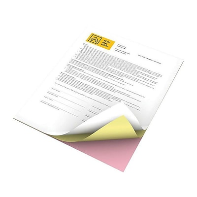 Xerox Revolution 8.5 x 11 Carbonless, Pink/Canary/White, 1670/Carton (3R12424)