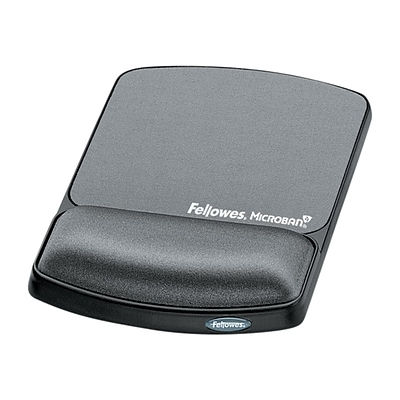 Fellowes Microban Gel Mouse Pad/Wrist Rest Combo, Graphite (9175101)