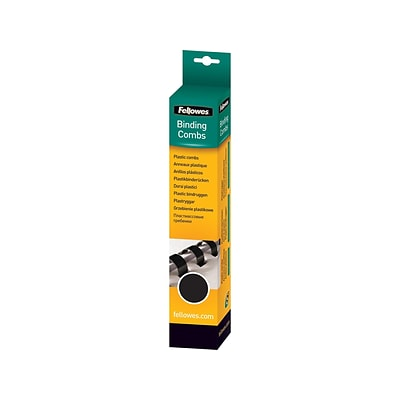 Fellowes Plastic Binding Combs, Black, 3/8, 55 Sheets, 100/Pack (52325)