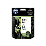 HP 62/62XL Black/Color Ink Cartridge, High Yield/Standard, 2/Pack (N9H67FN#140)
