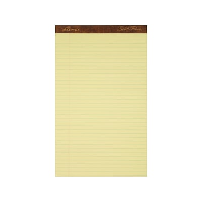 Ampad Gold Fibre Notepads, 8.5 x 14, Wide Rule, Canary, 50 Sheets/Pad, 12 Pads/Pack (TOP 20-030R)