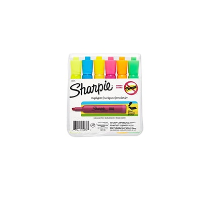 Sharpie Tank Highlighter, Chisel Tip, Assorted, 6/Pack (25076)