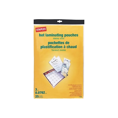 Staples Thermal Pouches Menu 25 Pack 17469 Quill Com