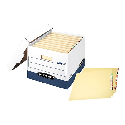 Bankers Box Heavy-Duty FastFold File Storage Boxes, Lift-Off Lid, Letter/Legal Size, White/Blue, 12/Carton (00709)