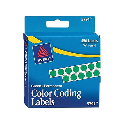 Avery Hand Written Identification & Color Coding Labels, 1/4 Dia., Green, 450/Pack (5791)