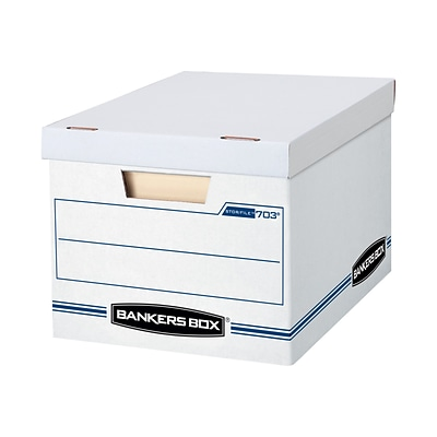 Bankers Box Stor/File Corrugated File Storage Boxes, Lift-Off Lid, Letter/Legal Size, White/Blue, 12/Carton (00703)