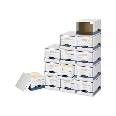 Bankers Box File/Cube Quick Set-Up Box Shells, Letter/Legal Size, White/Blue, 6/Carton (0162601)
