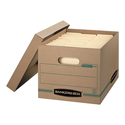 Bankers Box Stor/File Basic Duty Corrugated Boxes, Letter/Legal Size, Green/Kraft, 12/Carton (1277601)
