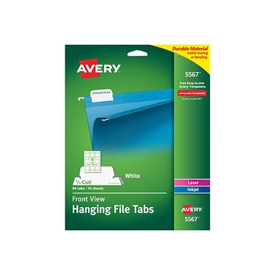 Avery Permanent Adhesive Hanging File Tabs, White, 90/Pack (5567)