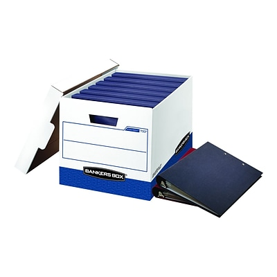 Bankers Box BinderBox Heavy-Duty Corrugated Boxes, White/Blue, 12/Carton (0073301)
