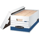 Bankers Box Stor/File Medium-Duty Corrugated Boxes, Legal Size, White/Blue, 4/Carton (0070205)