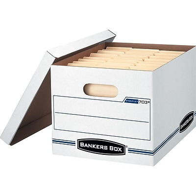 Bankers Box Stor/File Corrugated File Storage Boxes, Lift-Off Lid, Letter/Legal Size, White/Blue, 4/Carton (0070308)