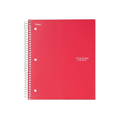 Five Star 5-Subject Notebook, 8.5 x 11, College Ruled, 200 Sheets, Red (72077)