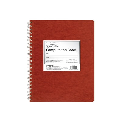 Ampad Notepad, 9.37 x 11.75, Quad Ruled, Red, 76 Sheets/Pad (TOP 22-157)