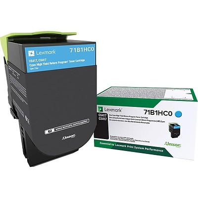 Lexmark CS417 Cyan Toner Cartridge, High Yield (71B1HC0)