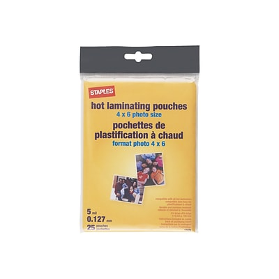 Staples Thermal Pouches, Photo (4 x 6), 25/Pack (17472)