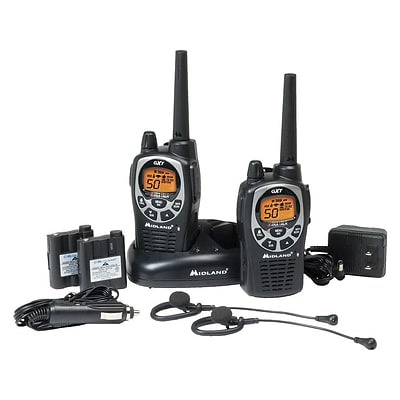 Midland X-tra Talk GXT1000VP4 Two-Way Radios, Black, Pack of 2