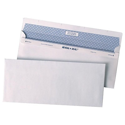 Quality Park Reveal-N-Seal Security Tinted #10 Business Envelopes, 4 1/8 x 9 1/2, White Wove, 500/Box (QUA67218)