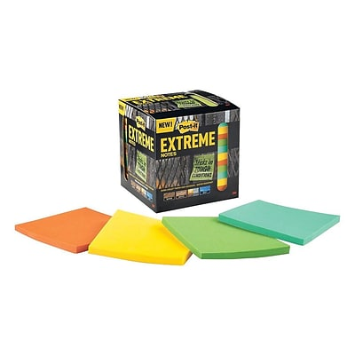 Post-it® Extreme Notes, 3 x 3, Orange, Green, Mint, Yellow, 12 Pads/Pack (EXTRM33-12TRYX)