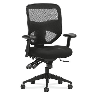 HON Prominent Mesh High-Back Task Chair, Asynchronous Control, Seat Glide, 2-Way Arms, Black Mesh (BSXVL532MM10)