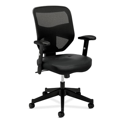 HON Prominent Mesh High-Back Task Chair, Adjustable Arms, Black SofThread Leather Seat (BSXVL531SB11)