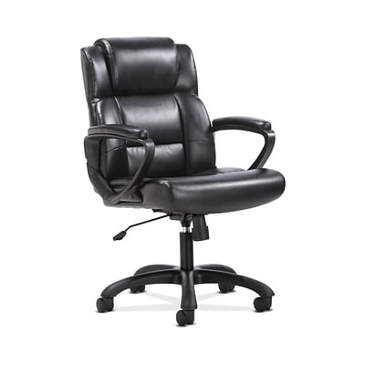 Sadie Mid-Back Executive Chair, Fixed Padded Arms, Black Leather (BSXVST305) NEXT2019 NEXT2Day