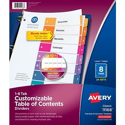 AveryR Ready IndexR Table Of Contents Dividers For Laser Inkjet Numbered 1