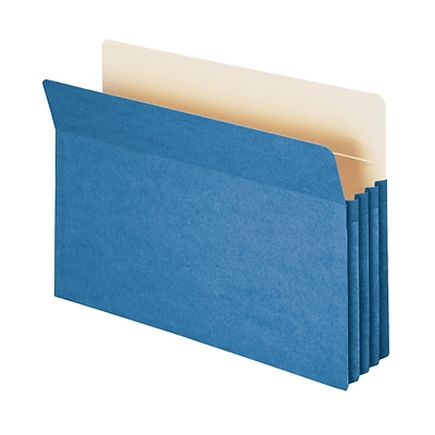 Smead File Pocket, Straight-Cut Tab, 3-1/2 Expansion, Legal Size, Blue, 25/Box (74225)