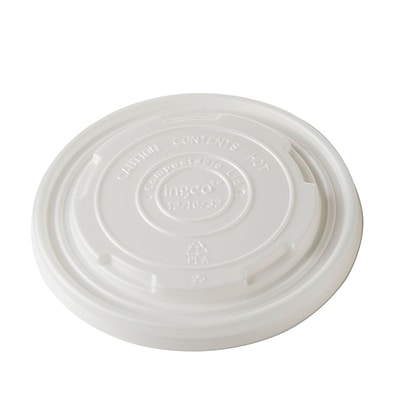 BioGreenChoice 12/16/32 oz. White Compostable Hot Paper Bowl Lid; 1000/Case